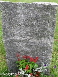The memorial stone at Dana Common in Dana, MA marks what was given up.