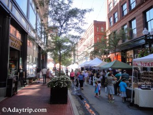Providence Art Festival - Vendor Booths that stretch down Westminster Street - one of the best free things to do in Providence, RI.