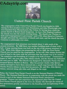 United First Parish Church history and information sign