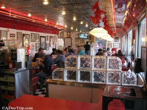 The Seating area at Dave's Diner is modeled after 1950's diners