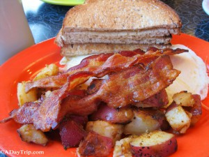 Little Lulu's at Dave's Diner: French toast, eggs, bacon, home fries and toast.