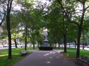 Commonwealth Avenue Mall located in the Back Bay of Boston is a great place for a romantic walk.
